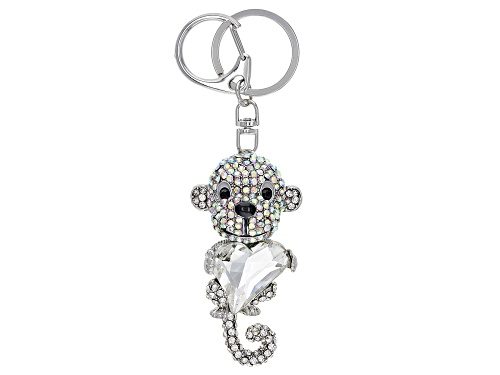 Photo of Off Park ® Collection, Mixed Shape Multi-Color Crystals Silver Tone Monkey Keychain