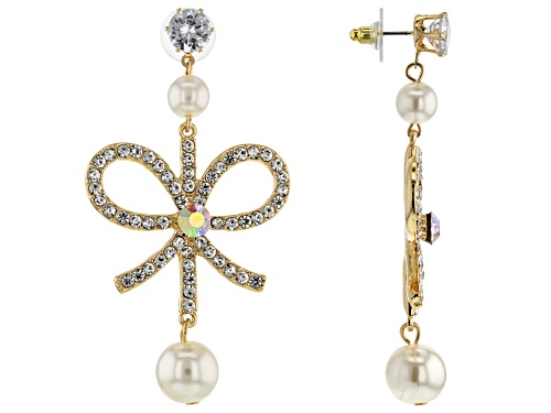 Photo of Off Park ® Collection, Gold Tone White Crystal and White Pearl Simulant Bow Earrings