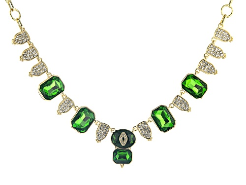 Photo of Off Park ® Collection, Gold Tone Green Crystal with White Crystal Statement Necklace