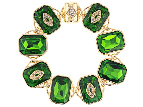 Photo of Off Park ® Collection, Gold Tone Green Emerald Colored Crystal & White Crystal Bracelet