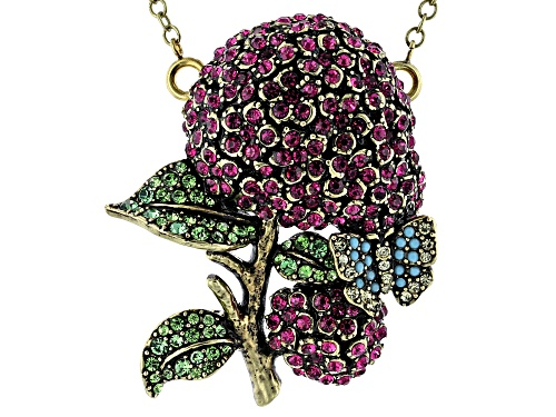 Photo of Off Park ® Collection, Antique Bronze Tone Multi-Color Crystal hydrangea Pin & Pendant W/ Chain
