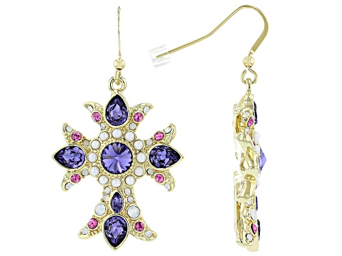 Photo of Off Park ® Collection, Shiny Gold Tone, Swarovski Elements ™ Crystal Cross Earrings