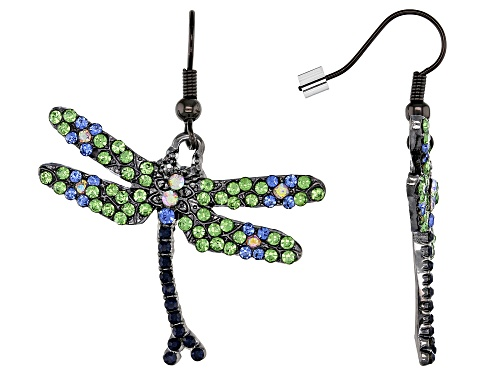 Photo of Off Park ® Collection, Green, Blue, and White Crystal Gunmetal Dragonfly Earrings