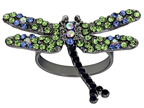 Photo of Off Park ® Collection,Green, Blue, and White Crystal Gunmetal Dragonfly Ring - Size 8