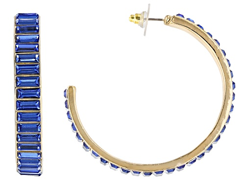Photo of Off Park ® Collection, Gold Tone Blue Crystal Hoop Earrings""