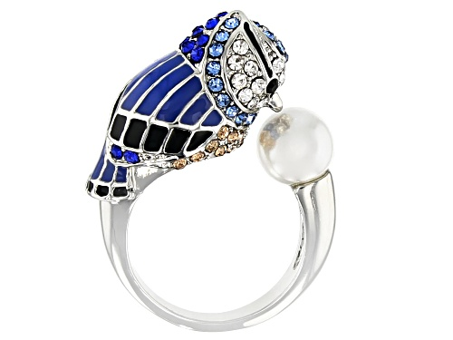 Photo of Off Park ® Collection, Silver Tone Multi-color Crystal  Blue Bird Ring - Size 6