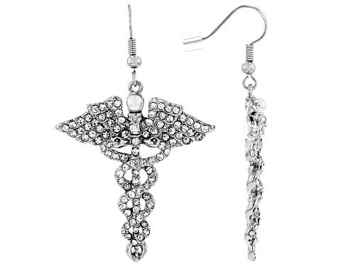 Photo of Off Park ® Collection, White Crystal Silver Tone  Caduceus Earrings