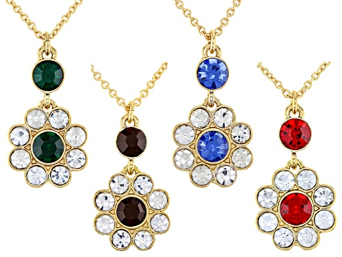 Photo of Off Park Collection™ Multi-Color Crystal Gold Tone Floral Necklace set of 4