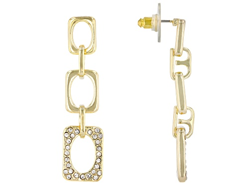 Photo of Off Park Collection™Gold Tone White Crystal Pave Chain Link Design Dangle Earrings