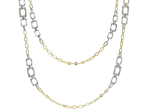 Photo of Off Park Collection™, Two Tone Pave White Crystal Chain Link Design Necklace