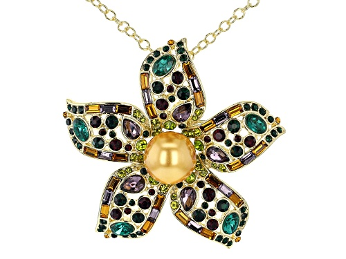 Photo of Off Park ® Collection, Gold Tone Multi -Color Crystal and Faux Pearl Pendant/Pin W/ Chain