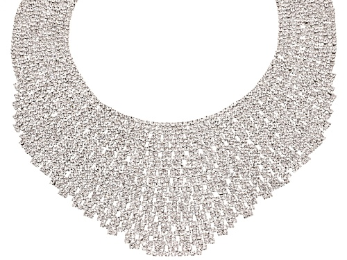 Photo of Off Park ® Collection Round White Crystal Silver Tone Statement Necklace