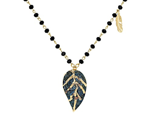 Photo of Off Park ® Collection Gold Tone Black Beaded Leaf Necklace - Size 34