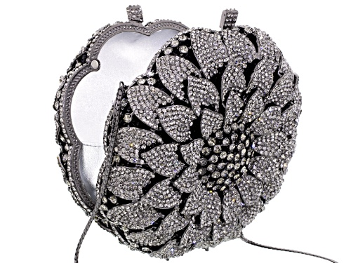 Photo of Off Park Collection ™ Gray Crystal Gunmetal Tone Floral Clutch With Chain