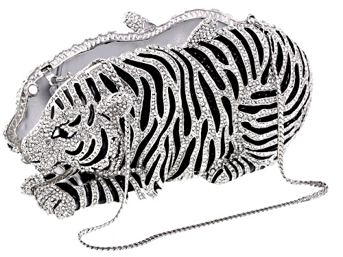Photo of Off Park ® Collection Multi Crystal Black And White Enamel Silver Tone Tiger Clutch With Chain