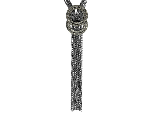 Photo of Off Park ® Collection White Crystal Gunmetal Tone Multi Strand Love Knot Necklace