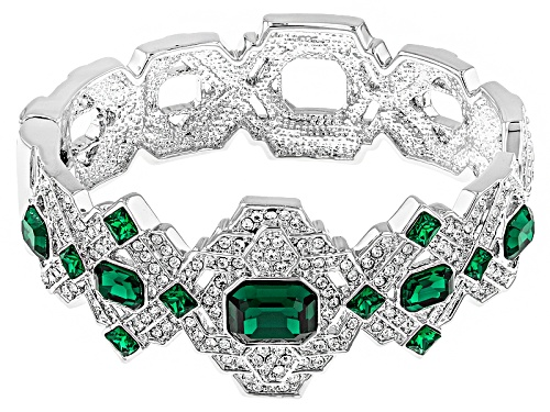 Photo of Off Park ® Collection White And Green Crystal Silver Tone Deco Bracelet