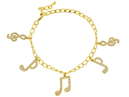Photo of Off Park ® Collection White Crystal Gold Tone Music Note Charm Bracelet