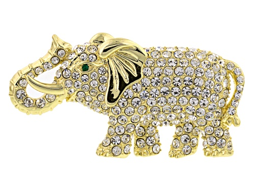 Photo of Off Park ® Collection White And Green Crystal Gold Tone Elephant Brooch
