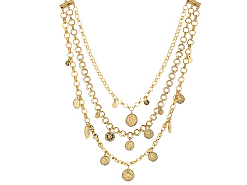 Photo of Off Park ® Collection White Crystal Gold Tone Multi Chain Coin Necklace