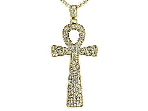 Photo of Off Park ® Collection White Crystal Gold Tone Ankh Pin/Pendant With Chain