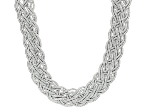 Photo of Off Park ® Collection White Crystal Silver Tone Braided Statement Necklace