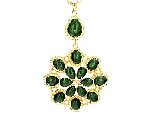 Photo of Off Park ® Collection Jade Simulant Pearl Simulant Gold Tone Pendant With Chain