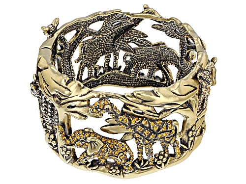 Photo of Off Park ® Collection Multicolor Crystal Antiqued Gold Tone Safari Cuff Bracelet