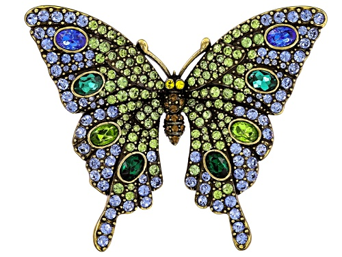 Photo of Off Park ® Collection Multicolor Crystal Antiqued Gold Tone Butterfly Brooch