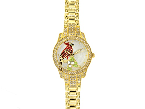 Photo of OFF PARK (R) COLLECTION MULTICOLOR CRYSTAL GOLD TONE CARDINAL WATCH