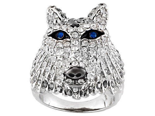 Photo of Off Park ® Collection Multicolor Crystal Black Enamel Silver Tone Wolf Ring - Size 6