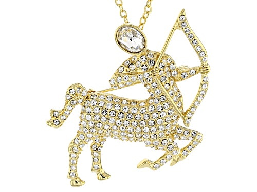 Off Park ® Collection White Crystal Gold Tone Aquarius Pin Pendant With Chain