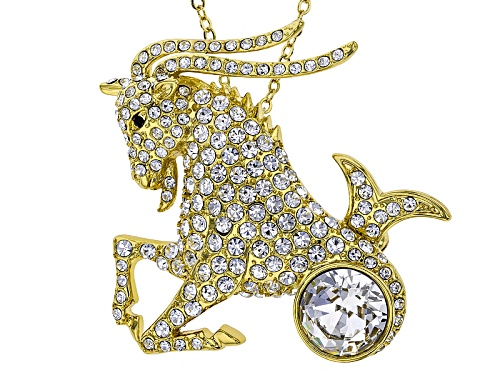 Photo of Off Park ® Collection White Crystal Gold Tone Capricorn Pin Pendant With Chain