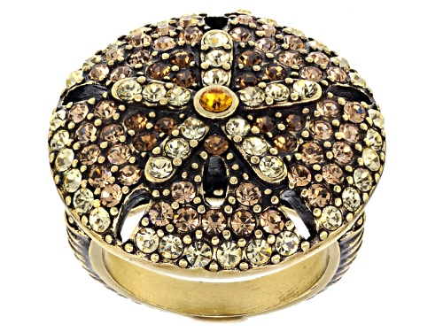 Off Park ® Collection Multicolor Crystal Antiqued Gold Tone Sand Dollar Ring - Size 6