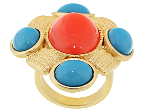 Photo of Off Park ® Collection Imitation Coral Imitation Turquoise Gold Tone Ring - Size 5