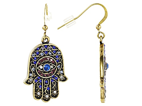 Off Park ® Collection Multicolor Crystal Antiqued Gold Tone Hamsa Hand Earrings