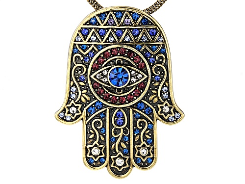 Photo of Off Park ® Collection Multicolor Crystal Antiqued Gold Tone Hamsa Hand Pin/Pendant With Chain