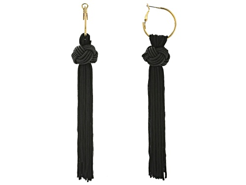Photo of Off Park® Collection Black Fabric Gold Tone Knotted Tassel Earrings