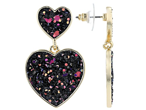 Photo of Off Park® Collection Girls Purple, Pink, And Black Confetti Glitter Gold Tone Heart Drop Earrings