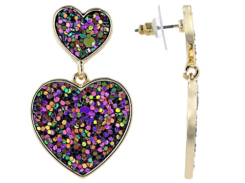 Photo of Off Park® Collection Girls Purple And Green Confetti Glitter Gold Tone Heart Drop Earrings