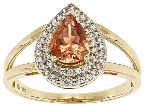 Photo of .95ct Pear Shaped Peach Oregon Sunstone With .25ctw Round White Zircon 10k Yellow Gold Ring. - Size 8