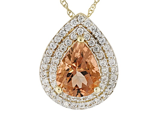 Photo of 1.00ct Pear Shaped Peach Oregon Sunstone With .25ctw White Zircon 10k Yellow Gold Pendant With Chain