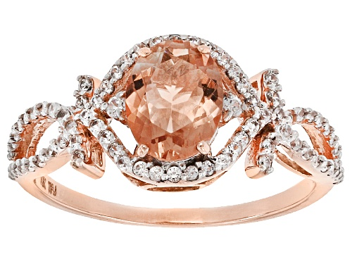 Photo of 1.00ct Oval Peach Oregon Sunstone With .35ctw Round White Zircon 10k Rose Gold Ring. - Size 6