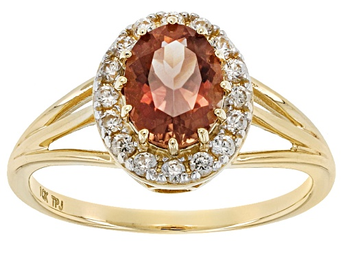 Photo of 1.00ct Oval Peach Oregon Sunstone With .24ctw Round White Zircon 10k Yellow Gold Ring. - Size 7