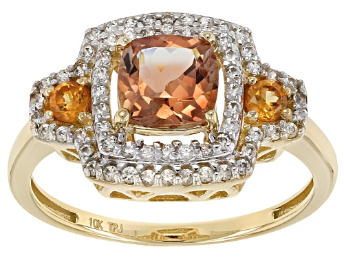 Photo of .95ct Peach Oregon Sunstone, .31ctw White Zircon And .18ctw Orange Sapphire 10 Yellow Gold Ring - Size 7