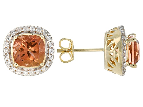 Photo of 1.90ctw Square Cushion Peach Oregon Sunstone With .26ctw Round White Zircon 10k Yellow Gold Earrings