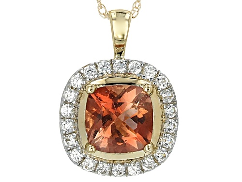 Photo of .80ct Square Cushion Oregon Sunstone With .22ctw Round White Zircon 10k Gold Pendant With Chain.