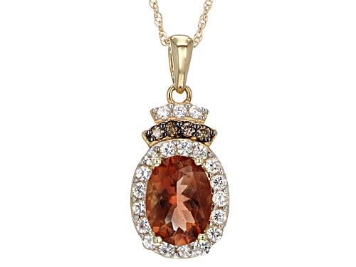 Photo of .90ct Oregon Sunstone, .31ctw Zircon, .03ctw Champagne Diamond Accent 10k Yellow Gold Pendant/Chain
