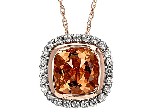Photo of 1.45ct Square Cushion Oregon Sunstone With .45ctw Round White Zircon 10k Rose Gold Slide With Chain