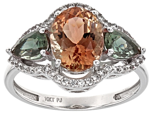 Photo of 2.20ctw Orange & Green Oregon Sunstone With .17ctw Zircon Rhodium Over 10k White Gold Ring - Size 8